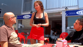 Topless Waitress Seduced And Railed by 2 Guys in Abandoned Building